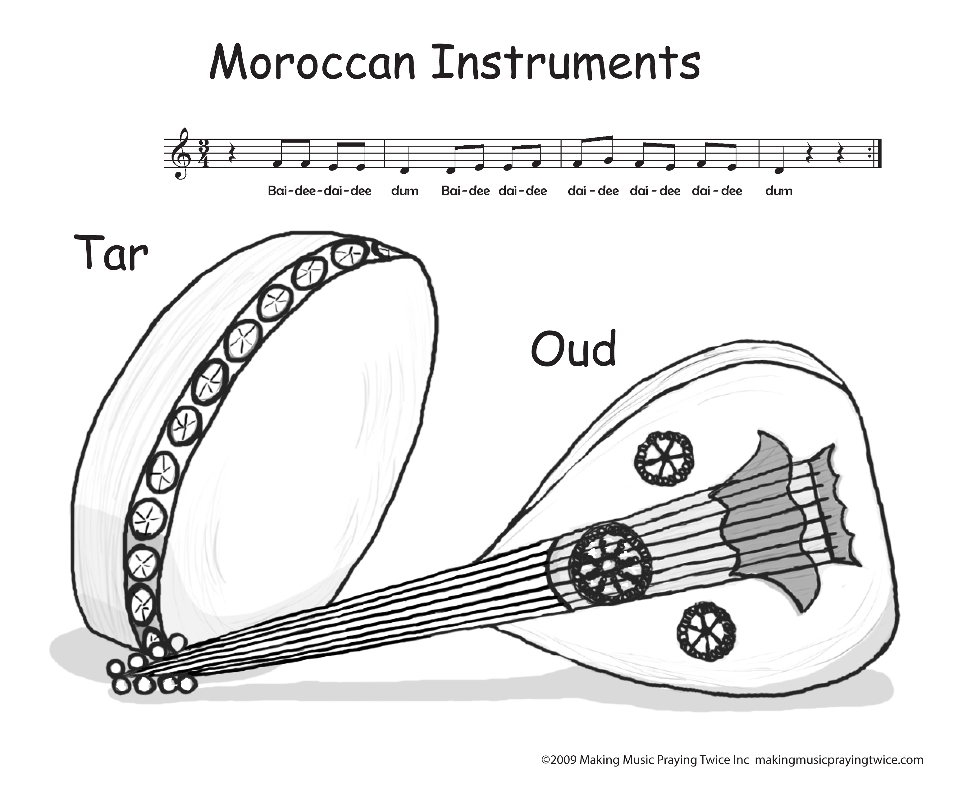 free music instrument coloring pages - photo#27